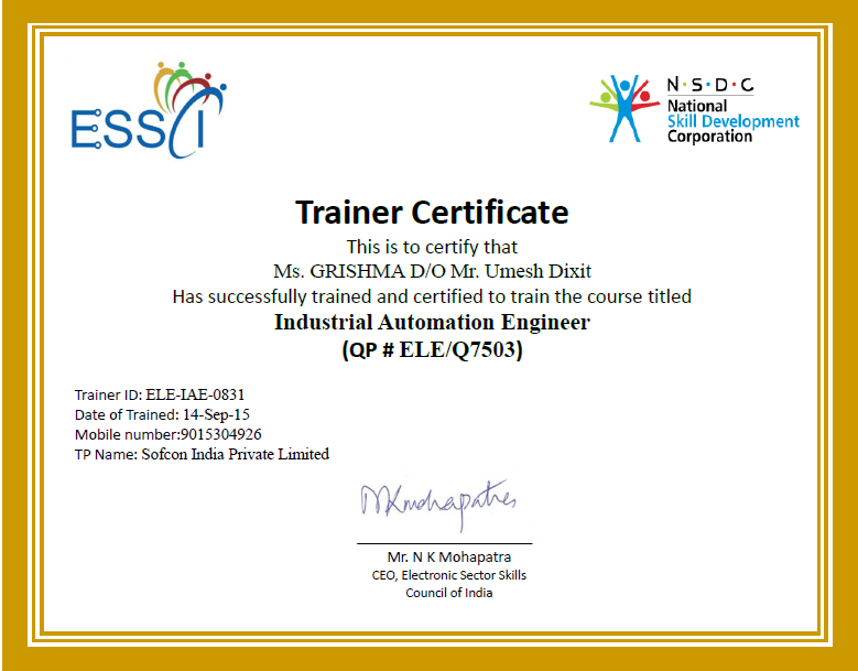 Trainer Certificate Sofcon Training Government