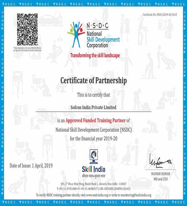 NSDC and Skill Sector Council Training Certificate of Sofcon