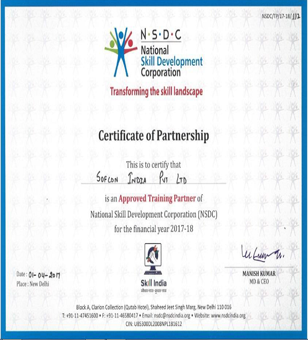 Nsdc And Skill Sector Council Training Certificate Of
